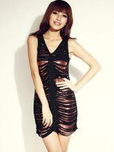 Black shreds over copper tank dress