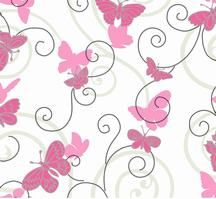 Pink Butterfly Wallapper from Room to Grow by York Wallcoverings. BS5395