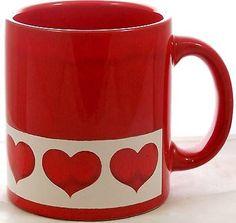 Rare-Waechtersbach-Red-Heart-on-White-Border-Coffee-Mug-Cup-West-Germany