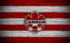 Download wallpapers 4k, Canada national football team, logo, North America, football, wooden texture, soccer, Costa Rica, emblem, North American national teams, Canadian football team
