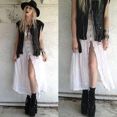 Vintage Hat, Diy Vintage Leather Vest, Vintage/Diy Crochet Dress, Unif Hellbound Platforms