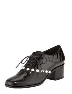 #CHANEL Pearlesent Beaded Lace-Up Shoes