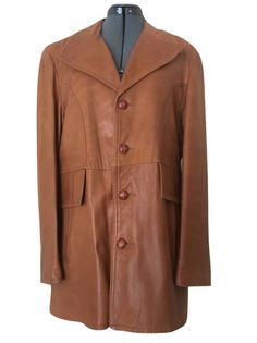 Gary Gordon Vintage Size 42 Mens Cognac Leather Fabric Lined Coat Jacket #GaryGordon #WeartoWorkCasualDinnerDrinks