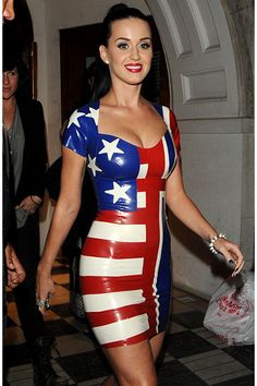 Katy Perry showed off her hourglass figure in this skin-tight, latex-like dress at the 2010 Football World Cup in London.