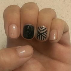 Nude gelish, black glitter and a  geometric design