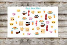 35 Kawaii Breakfast Food Planner Stickers USD) by SweetBeanPlans Printable Stickers, Planner Stickers, Gymnastics Girls, Meal Planner, Breakfast Recipes, Little Girls, Triangle, Photo Wall, Kawaii