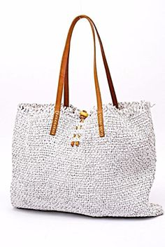 HENRY CUIR White WOVEN Leather Bag Tote W British Tan Handles-FABULOUS!  Italy  HenryCuir  Tote c2bf1eae3128d