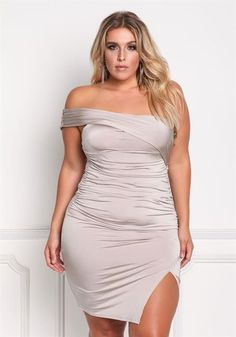 Plus Size One Shoulder Slit Bodycon Dress