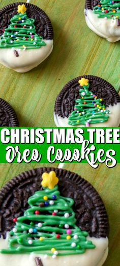 Christmas Oreos Christmas Tree Oreos are a simple Christmas cookie that looks beautiful on your cookie dessert tray! Using a mint Oreo cookie or your favorite Oreo cookie flavor you can make these simple, yet beautiful Christmas Oreos. Easy Christmas Cookie Recipes, Christmas Tree Cookies, Christmas Cookie Exchange, Christmas Party Food, Christmas Cooking, Holiday Desserts, Holiday Cookies, Holiday Treats, Holiday Baking Ideas Christmas