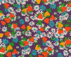 Bright and Cheery Fruit and Flowers 60s Print Fabric 2 1/3 yards