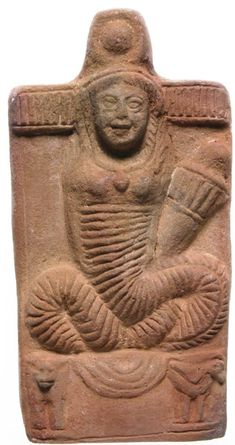 Terracotta figure of Isis-Thermuthis in a shrine. Isis-Thermuthis, with a cobra's body and the torch of Demeter, in a shrine surmounted by a. Ancient Aliens, Ancient Art, Ancient Egypt, Ancient History, Art History, Ancient Goddesses, Gods And Goddesses, Isis Goddess, Art Antique
