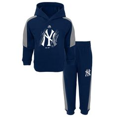 New York Yankees Majestic Infant Outfielder Fleece Hoodie and Pants Set - Navy/Gray