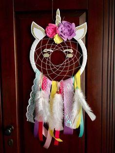 Unicorn dream catcher. Rainbow and gold unicorn. Handmade