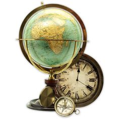 A globe, a clock, and a compass.