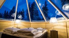 All Glass Igloo Finland. Price from Over 35 glass igloo hotels in addition to Kakslauttanen Arctic Resort. Northern Lights Igloo, See The Northern Lights, Glass Igloo Finland, Glass Igloo Hotel, Igloo Village, Holidays In Finland, Notting Hill, Jacuzzi, Outdoor Furniture