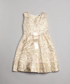 Gold brocade bow detail formal dress - D&G Baby