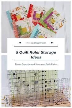 Sewing Room Organization: 5 Quilt Ruler Storage Ideas | A Quilting Life Quilting Rulers, Quilting Tips, Quilting Projects, Sewing Projects, My Sewing Room, Sewing Rooms, Sewing Room Organization, Organization Hacks, Sewing Studio