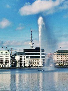 Binnenalster und Fernsehturm Hamburg