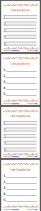 """I am thankful for .."" and ""I am grateful for..."" writing pages with plain or elementary lines"
