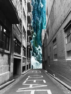 A digital collage inspired by the work of Merve Ozaslan Photo / Photograph / Melbourne / City / Art / Very dramatic image made using photoshop City Painting, Oil Painting Abstract, Photomontage, Collage Kunst, City Collage, Collage Collage, Image Collage, Collages, Collage Photo
