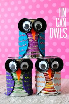 This tin can owl craft is colorful and cute and is perfect for the fall season. Fun bird craft for kids, fall kids craft, preschool craft, and recyclable kids craft.