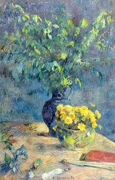 Paul Gauguin : Deux vases de fleurs avec éventail