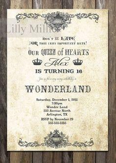 Vintage Alice in Wonderland Sweet 16 Dusty and Gray Sweet Sixteen ...