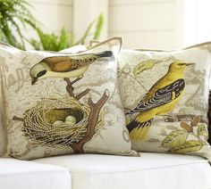 Virginia Bird Embroidered Pillow Cover