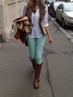 Love love love mint!...mint skinny jeans for fall