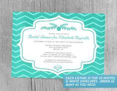 Turquoise Chevron Bridal Shower Invitations