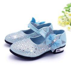 Girls Blue Rhinestone Embellished Formal Shoes