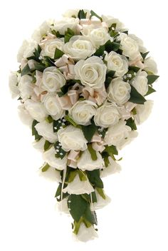 A chic ivory Beth foam rose wedding shower bouquet with luxury ivory satin ribbon bows complimenting the roses, also with sparkling clear crystal strands and green rose leaves between.  A dozen of the ivory roses also have diamantes added to the centres.