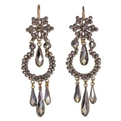 Cut Steel Earrings | From a unique collection of vintage chandelier earrings at http://www.1stdibs.com/jewelry/earrings/chandelier-earrings/