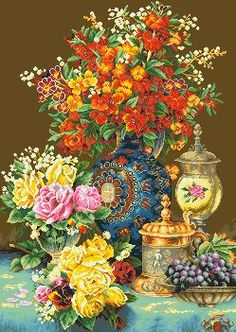 Натюрморт с вазами - Цветы, натюрморты с цветами - Схемы вышивки - Иголка