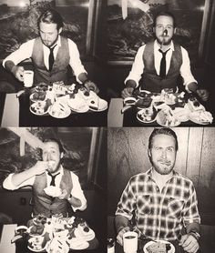 Ryan Gosling with a side of coffee and cake. Or coffee cake lol.