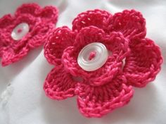 Cute!    @Stephanie Swaney    http://www.etsy.com/listing/70698359/hot-pink-button-flower-crochet?ref=sr_gallery_33&sref=&ga_search_submit=&ga_search_query=scrapbook+flowers&ga_view_type=gallery&ga_ship_to=US&ga_page=2&ga_search_type=handmade&ga_facet=handmade