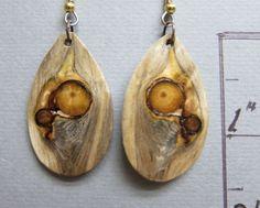 Glowing Pine with Knots Exotic Wood Dangle Earrings ExoticWoodJewelryAnd handcrafted ecofriendly