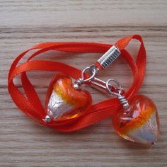Orange Lampwork Glass Heart Bookmark £4.00