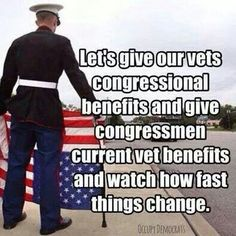 Lets give pur Vets congressional benefits and congressmen cirrent vet benefits and watch how fast things change.so true Vet Benefits, My Champion, Support Our Troops, Thing 1, God Bless America, We The People, Normal People, Stupid People, In This World