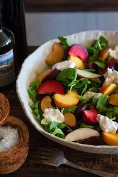 Stone Fruit and Burrata Salad by whatsgabycooking #Salad #Stone_Fuit #Greens #Beets #Burrata #Healthy