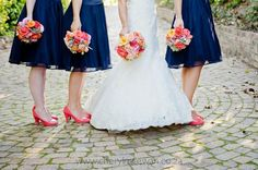 Navy, coral and pink wedding bouquet. Flowers by www.botanica-flowers.co.za. Photography by www.cherylmcewan.co.za Bouquet Flowers, Wedding Bouquets, Tulle, Coral, Navy, Pink, Photography, Beautiful, Fashion