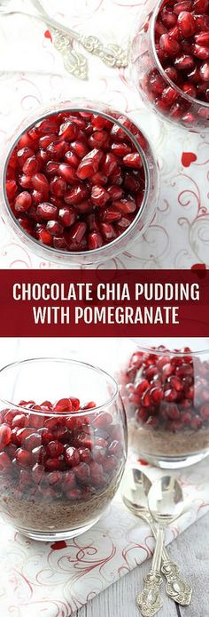 This heart-healthy Chocolate Chia Pudding with Pomegranate is very easy to make. It's also #dairyfree, #glutenfee, and #vegan.