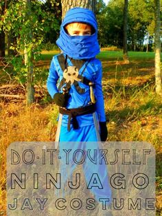 Looking for a Ninjago Jay (blue ninja) costume for your child? Read to find step-by-step directions with pictures for creating a homemade costume for Halloween or fun dress up play.