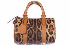 Dolce & Gabbana women's handbag barrel bag purse leo brown