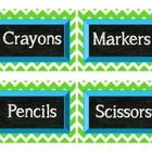 44 different labels for the classroom. The background is lime green chevron, the label is aqua blue, and the writing is chalkboard....