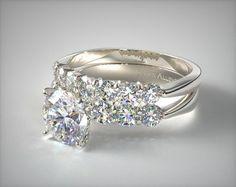 14K White Gold Common Prong Six Round Diamond Engagement Ring