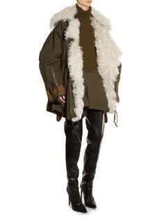 Alpaca-collar twill parka | Balenciaga | MATCHESFASHION.COM