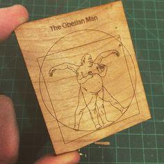 This arrived today. The laser cut Obesian Man! #lasercut #lasercutting #illustration #illustrator #obese #thevetruvianman #man #woodart by raderillustration
