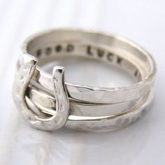 Handmade silver Good Luck ring with horse shoe detail