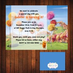 Lorax Birthday Invitation Movie Lorax by ThatsSoCuteEtsyShop, $12.00